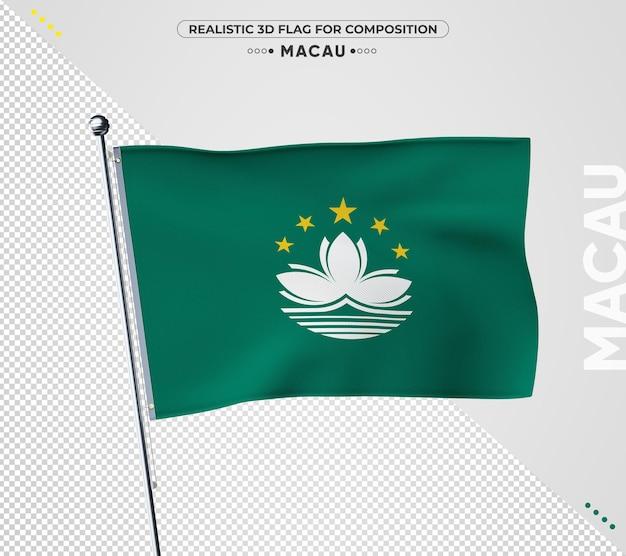 Macau flagge mit realistischer textur