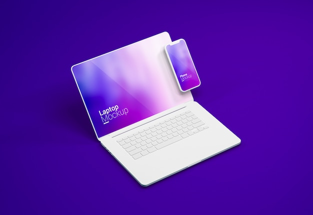 Macbook pro laptop und smartphone clay mockup