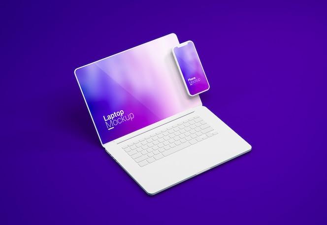 Macbook pro laptop und smartphone clay mockup