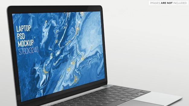 Macbook pro psd mockup schließen sie die ansicht