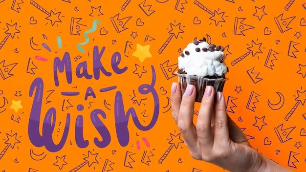 Machen sie eine wunschnachricht mit kuchen für geburtstagsfeier Kostenlosen PSD