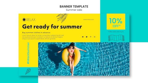 Machen sie sich bereit für die sommer-banner-vorlage
