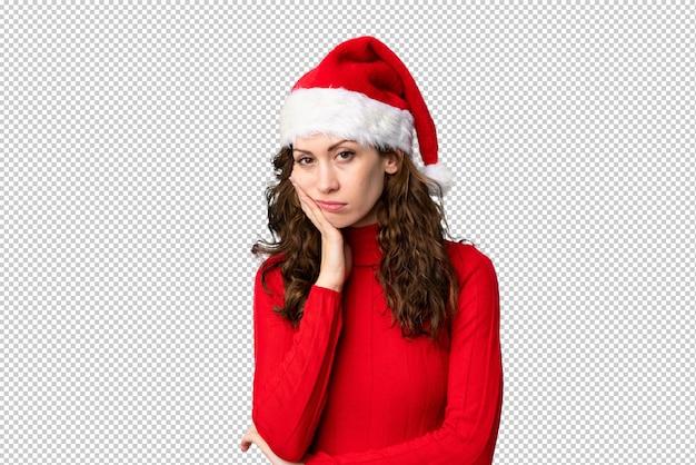 Mädchen mit weihnachtsmütze unglücklich und frustriert