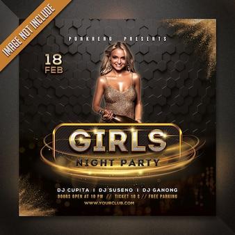 Mädchen nacht party flyer vorlage