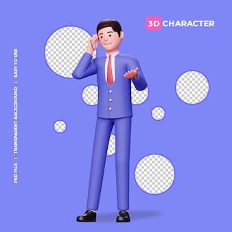 Männliche 3d-figur, die auf dem handy mit transparentem hintergrund spricht