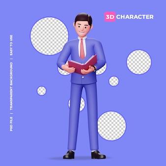 Männliche 3d-figur, die ein buch mit transparentem hintergrund liest
