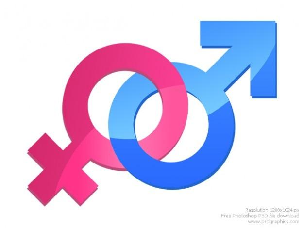Männliche und weibliche zeichen