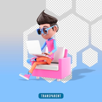Männlicher 3d-charakter, der am laptop arbeitet, während er im stuhl sitzt