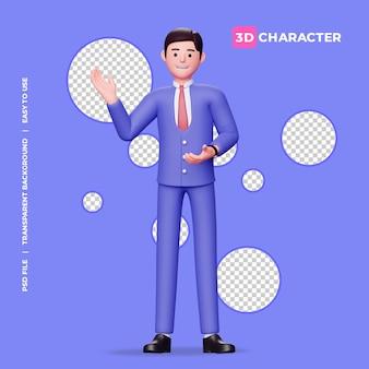 Männlicher 3d-charakter, der etwas mit transparentem hintergrund erklärt