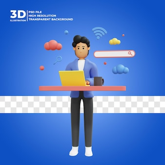 Männlicher 3d-charakter, der nach informationen im internet mit suchfeldsymbol sucht premium psd