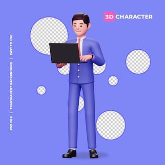 Männlicher charakter 3d, der laptop mit transparentem hintergrund hält