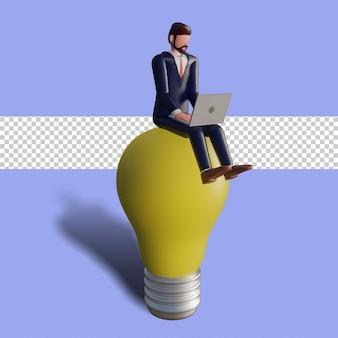 Männlicher charakter 3d tippt und sitzt auf einer lampe.