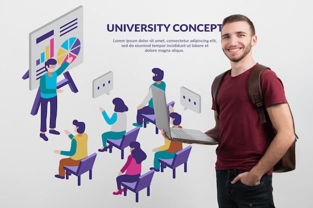 Männlicher student, der onlineplattform darstellt