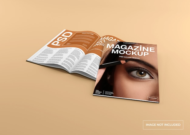 Magazin-cover und innenseitenmodell isoliert