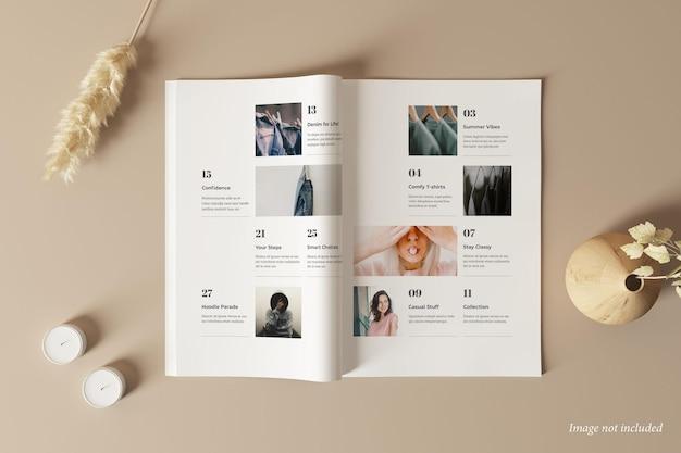 Magazin im mockup-draufsicht
