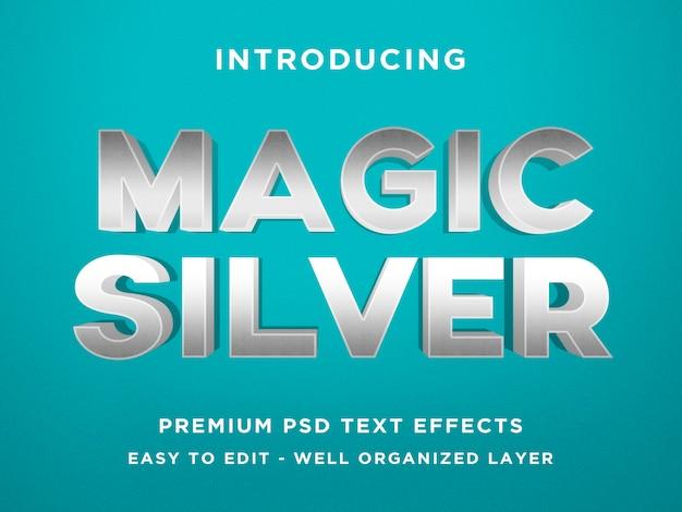 Magische silberne effekt photoshop-schablonen des text-3d