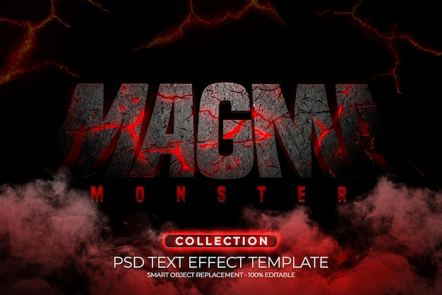 Magma monster texteffekt benutzerdefinierte 3d-vorlage