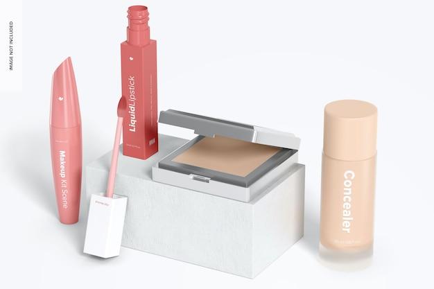 Makeup kit scene mockup, ansicht von links