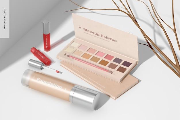 Makeup paletten mockup, perspektivische ansicht