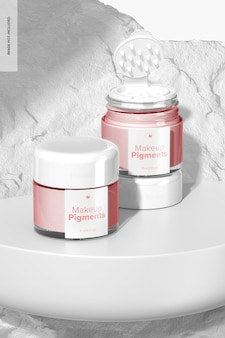 Makeup pigments mockup, geöffnet und geschlossen