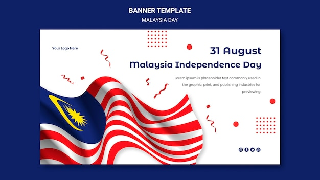 Malaysia unabhängigkeitstag und flaggenbanner-webvorlage