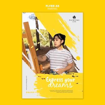 Malen flyer vorlage mit foto