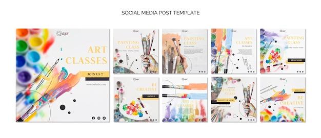 Malen und zeichnen sie social media post-vorlage
