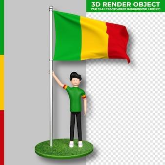 Mali-flagge mit niedlichen menschen-cartoon-figur. 3d-rendering.