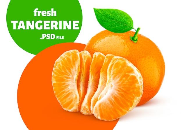 Mandarine isoliert, fruchtbanner
