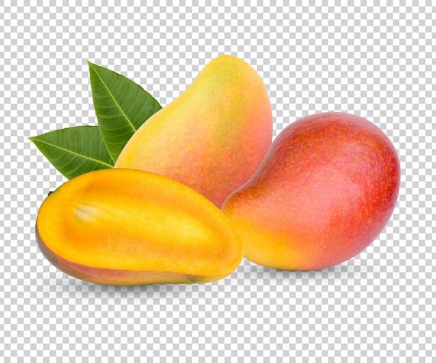 Mangofrucht und in scheiben geschnitten isoliert
