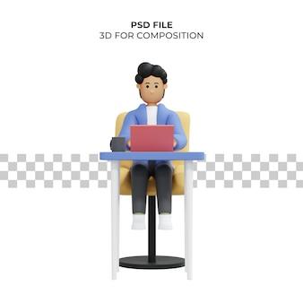 Mann arbeitet sitzend auf stuhl mit laptop freiberufler 3d illustration premium psd Premium PSD