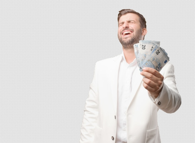 Mann, der 20 eurorechnungen zeigt