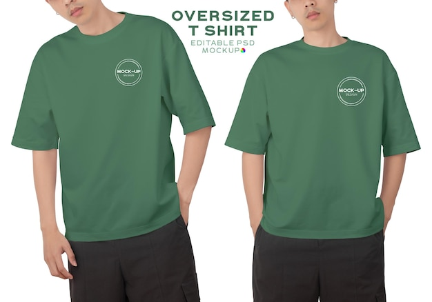 Mann, der ein übergroßes t-shirt mit o-ausschnitt für ihr design trägt.