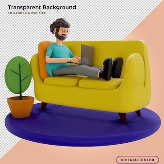 Mann der illustration 3d mit laptops, die auf der couch liegen. 3d-darstellung.