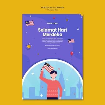 Mann, der malaysische flaggenplakatschablone hält