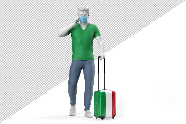 Mann mit gesichtsmaske zieht einen koffer mit der flagge italiens. 3d-rendering