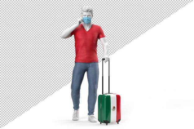 Mann mit gesichtsmaske zieht einen koffer mit der flagge mexikos. 3d-rendering