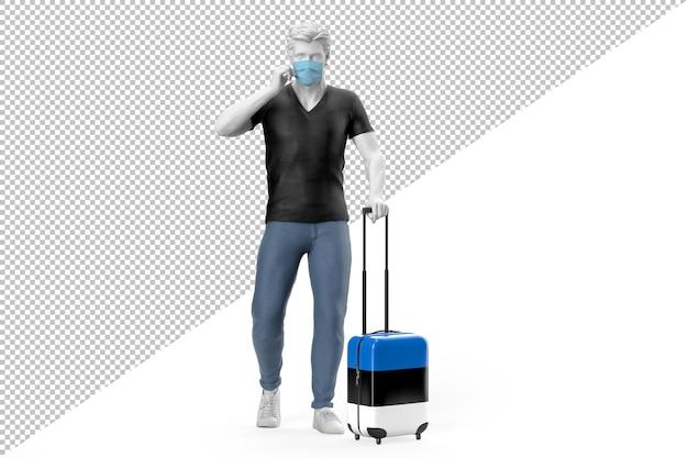 Mann mit gesichtsmaske zieht einen koffer mit estnischer flagge
