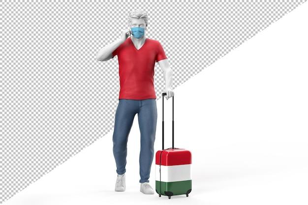 Mann mit gesichtsmaske zieht einen koffer mit ungarischer flagge