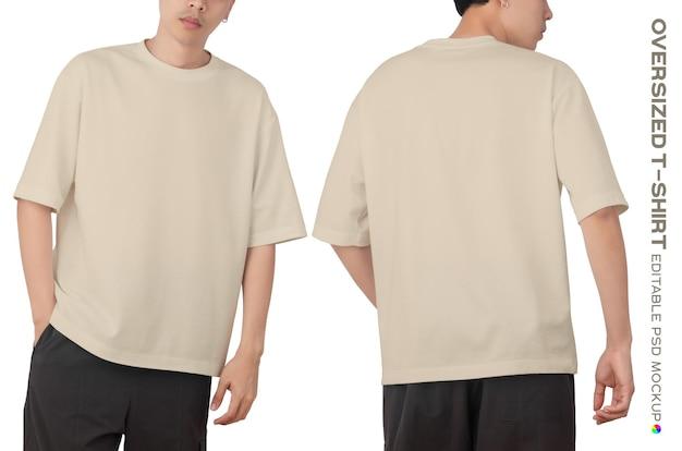 Mann mit übergroßem t-shirt mit o-ausschnitt-modell