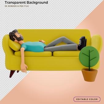 Mann schläft auf einem gelben sofa. 3d-darstellung.