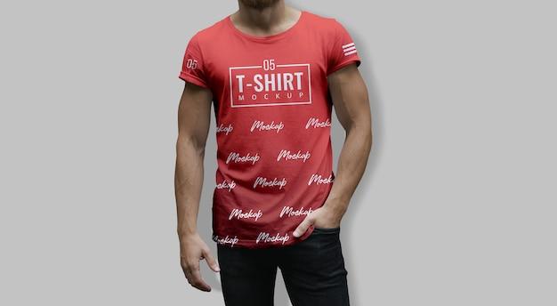 Mann-t-shirt modell-rot