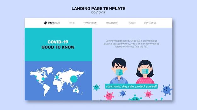 Mann und frau mit maske coronavirus landing page