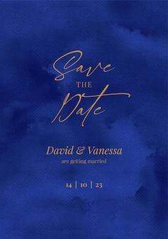 Marineblaue save-the-date-einladungskarte mit aquarellhintergrund