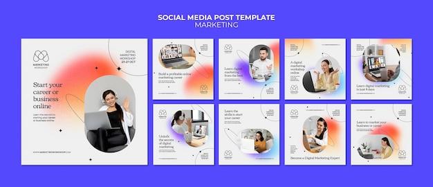 Marketing insta social media post template-design