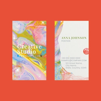 Marmor-visitenkartenvorlage psd im farbenfrohen ästhetischen stil