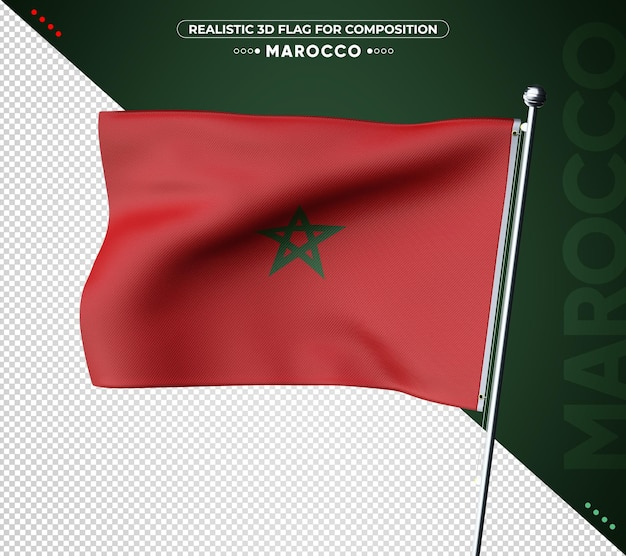 Marokko 3d flagge mit realistischer textur