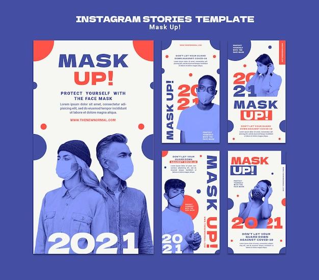 Maskieren sie die instagram-geschichten-sammlung 2021