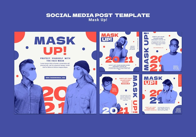 Maskieren sie die instagram-posts-sammlung 2021
