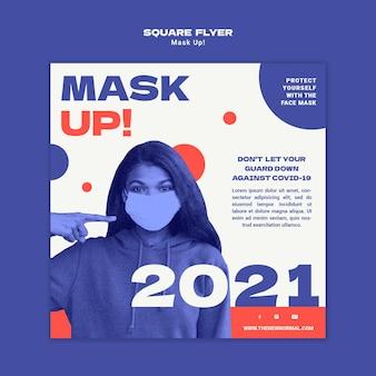 Maskieren sie die quadratische flyervorlage 2021 2021